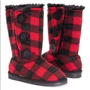 Muc Luks Girls Buffalo Plaid Faux-Fur Lined Boots